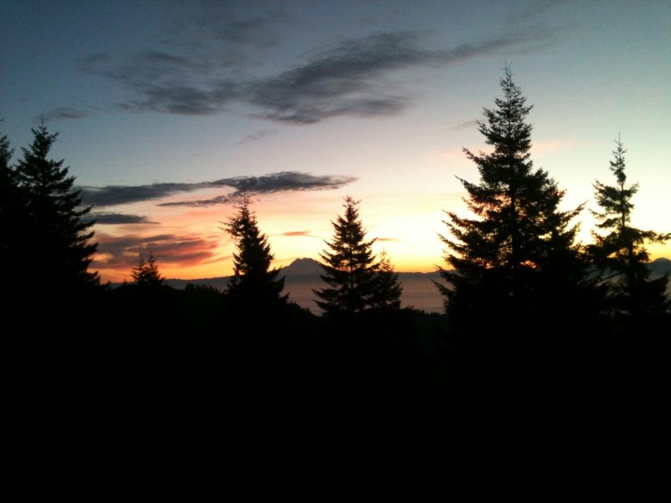Mount Rainier at sunrise.